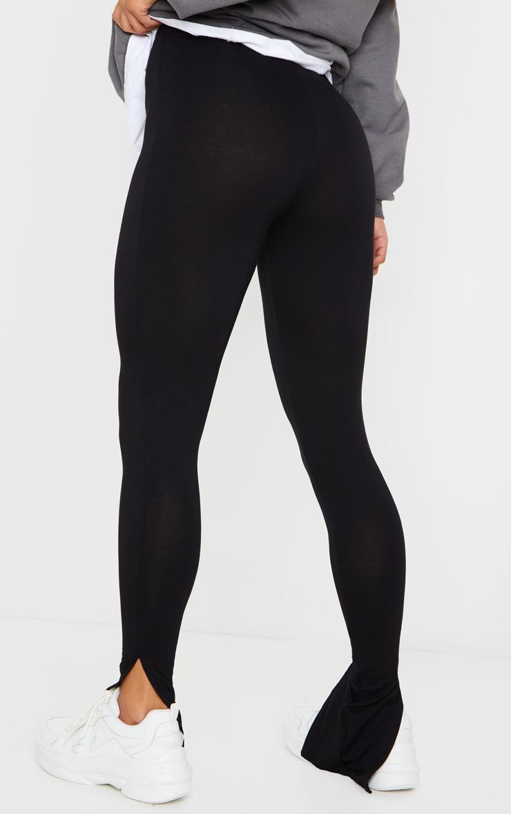 Black Basic Jersey Split Hem Leggings 3