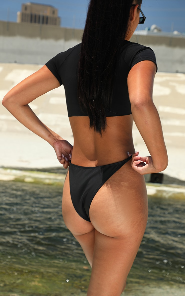 Black Scuba Mini Tanga Bikini Bottom 3