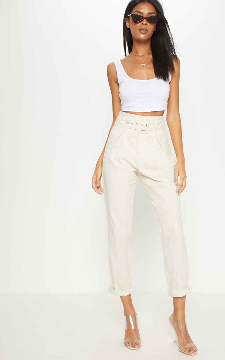 Cream Belted Paperbag Tapered Trouser