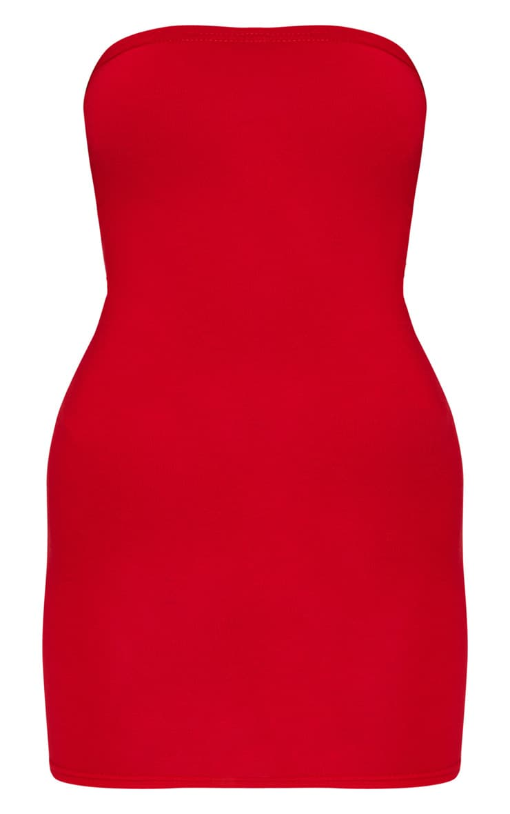 Basic Red Jersey Bandeau Bodycon Dress 1