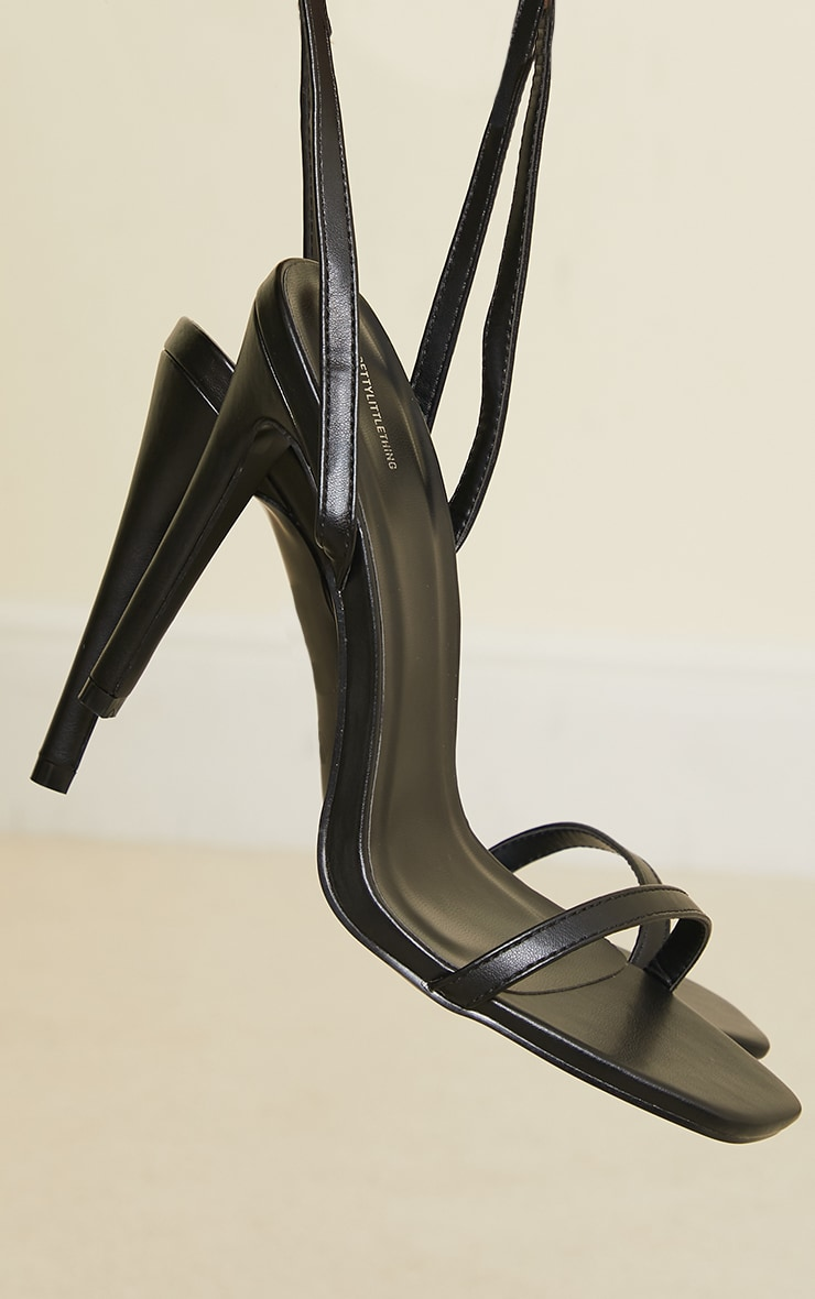 Black PU Square Toe Barely There Strappy High Heels 4