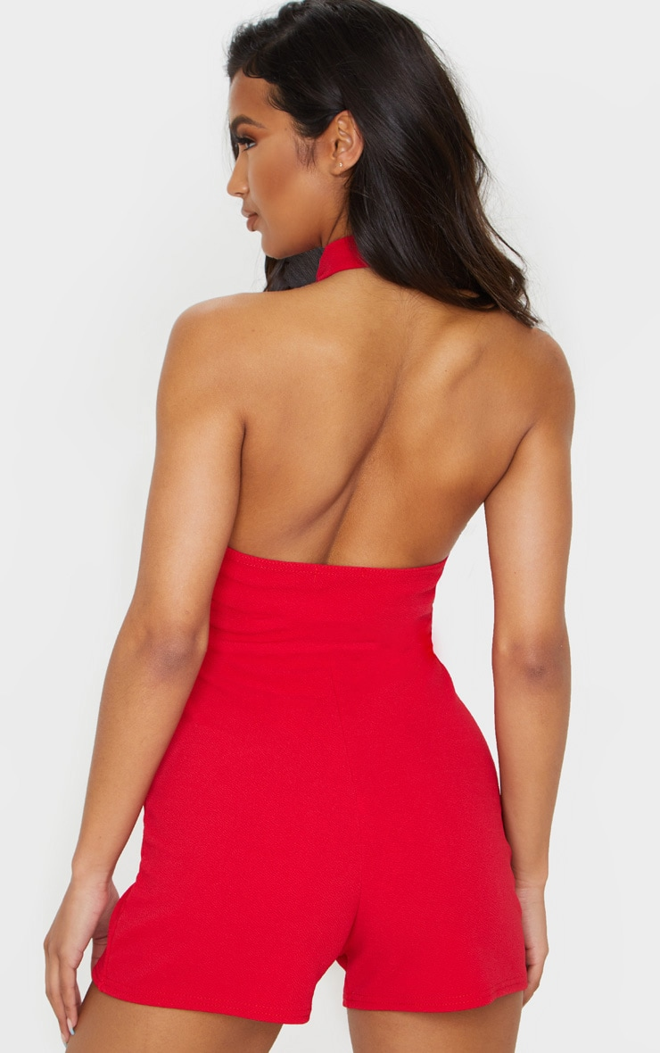 Red Basic High Neck Playsuit 2