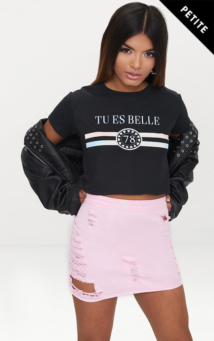 Petite Black Tu Es Belle Slogan T-Shirt