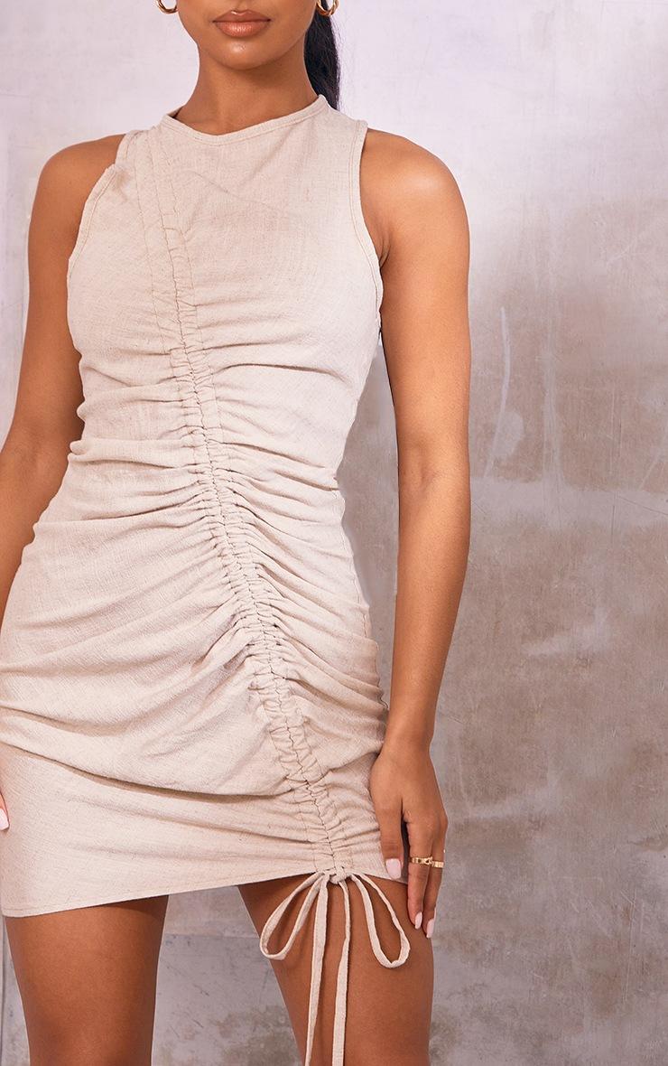 Stone Linen Sleeveless Asymmetric Ruched Bodycon Dress 4