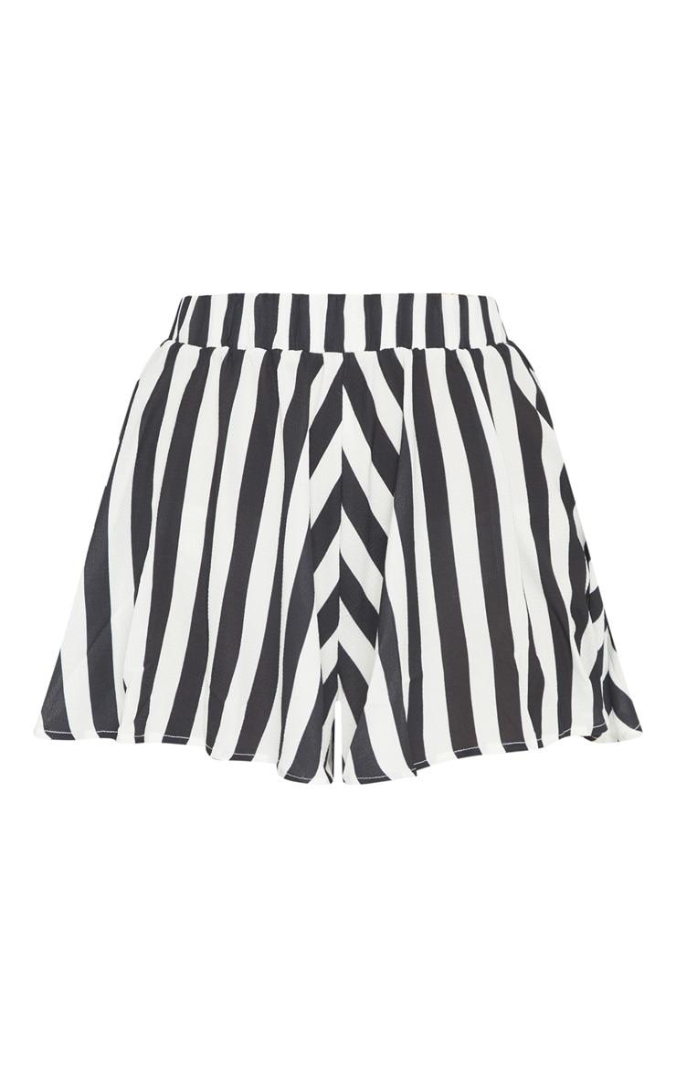Monochrome Stripe Floaty Shorts 3