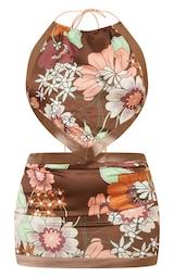 Brown Retro Floral Print Bodycon Dress 5