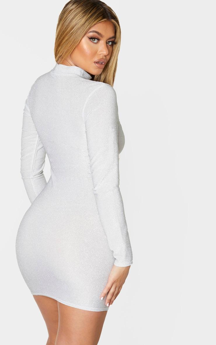 Grey Glitter High Neck Long Sleeve Cut Out Midi Dress 2