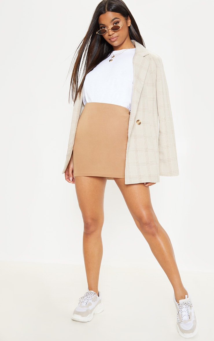 Basic Camel Jersey Mini Skirt 5