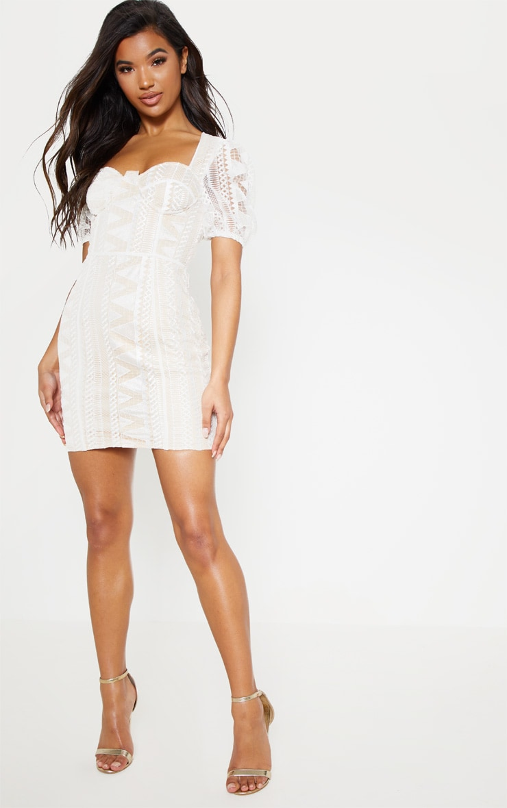 White Lace Puff Sleeve Bodycon Dress 5