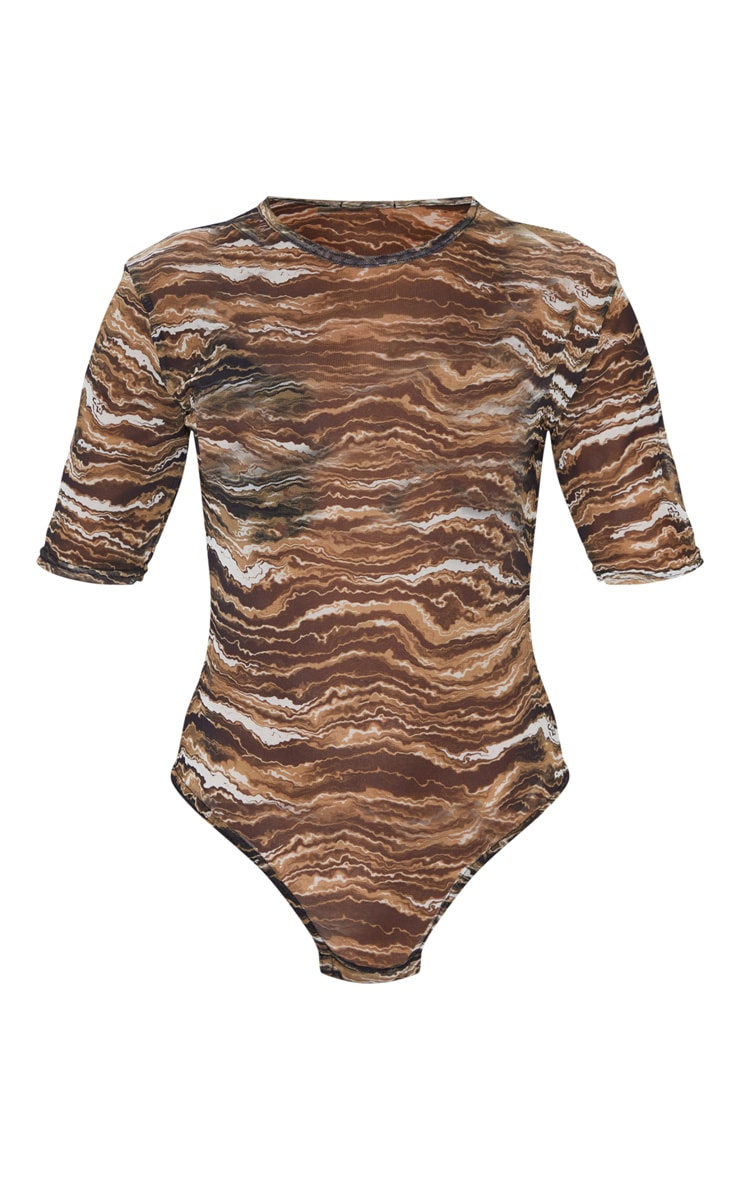 Tan Wave Printed Short Sleeve Bodysuit 3