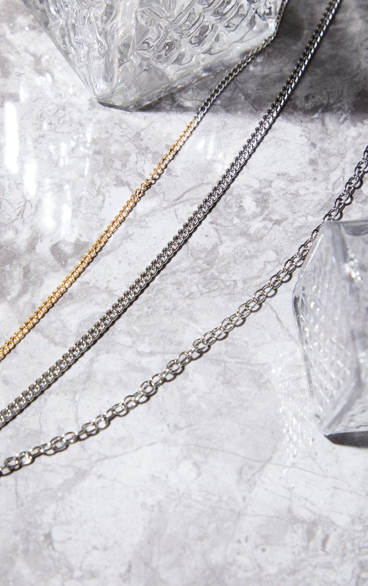 Gold And Silver Mixed Chain Layering Necklace 2