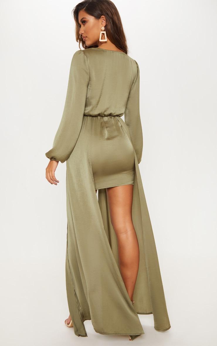 Sage Green Satin Plunge 2 in 1 Maxi Dress 2