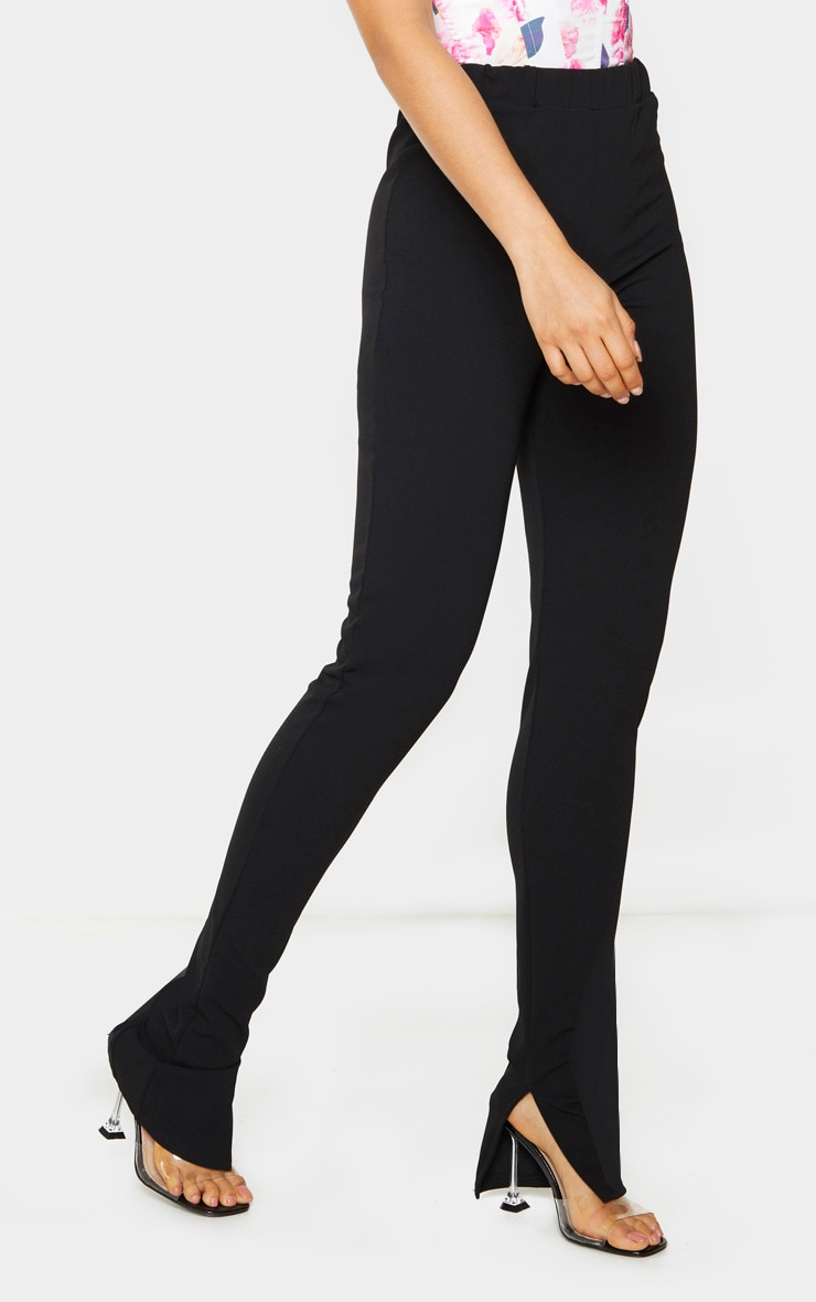 Tall Black Back Seam Split Hem Crepe Pants 2