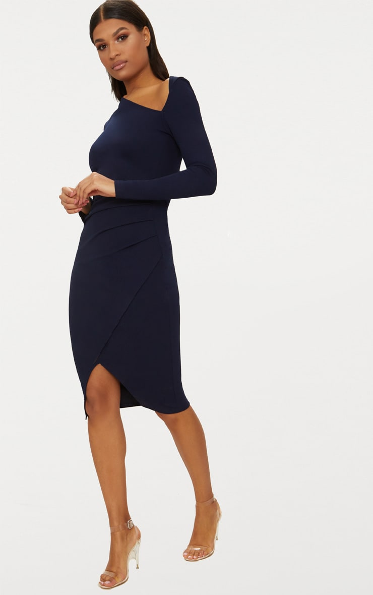 Navy Asymmetric Neck Pleated Wrap Midi Dress 4