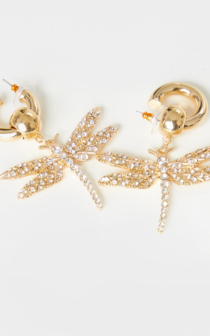 Gold Oversized Diamante Dragonfly Earrings 3
