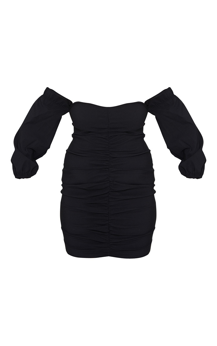 Plus Black Stretch Bardot Ruched Front Bodycon Dress 5