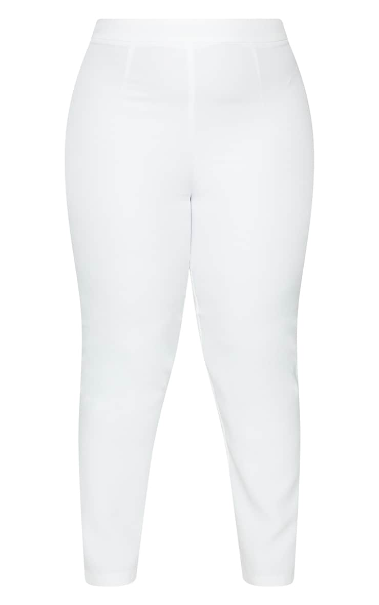 Plus White Tailored Fitted Pants 5