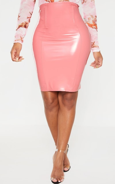 Shape Peach Vinyl Corset Detail Bodycon Skirt