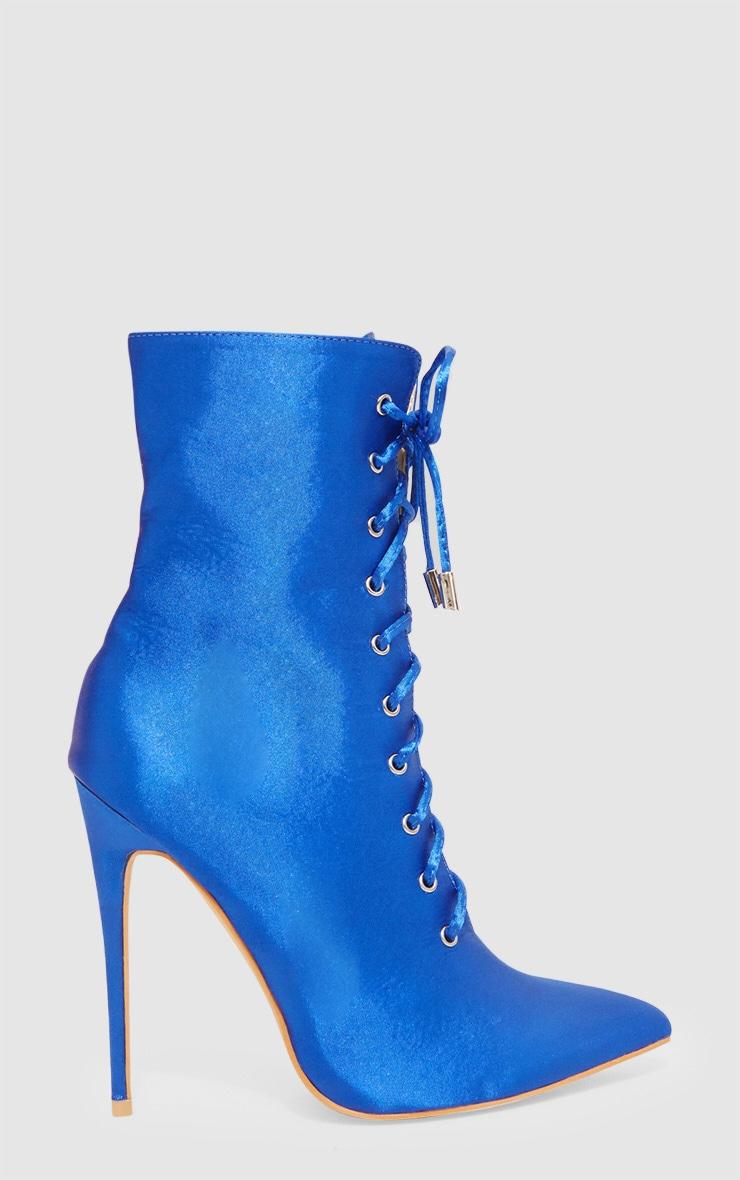 Cobalt Satin Lace Up Heeled Boot 3