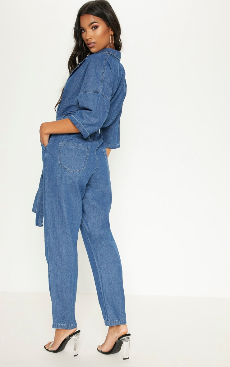 Denim Mid Wash Utility Jumpsuit  2