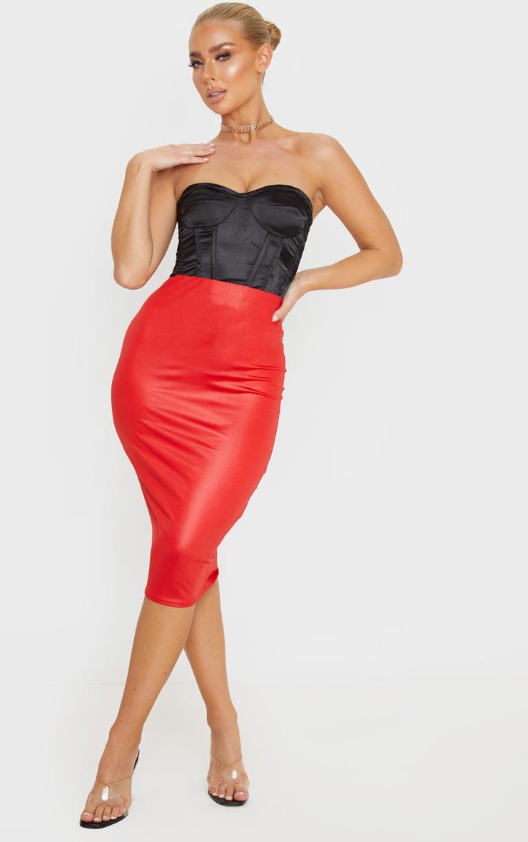 Red Wet Look Midi Skirt 1