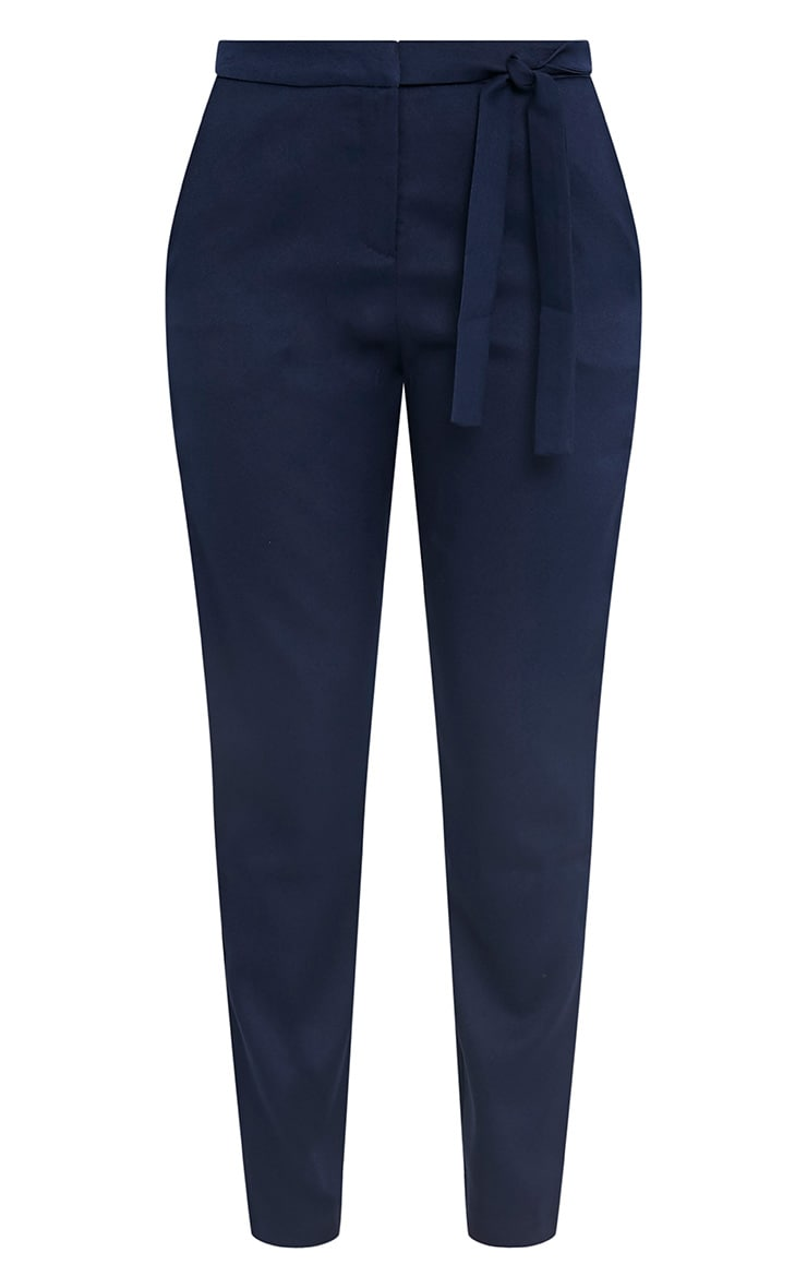 Avah Navy Tie Waist Cigarette Trousers 3