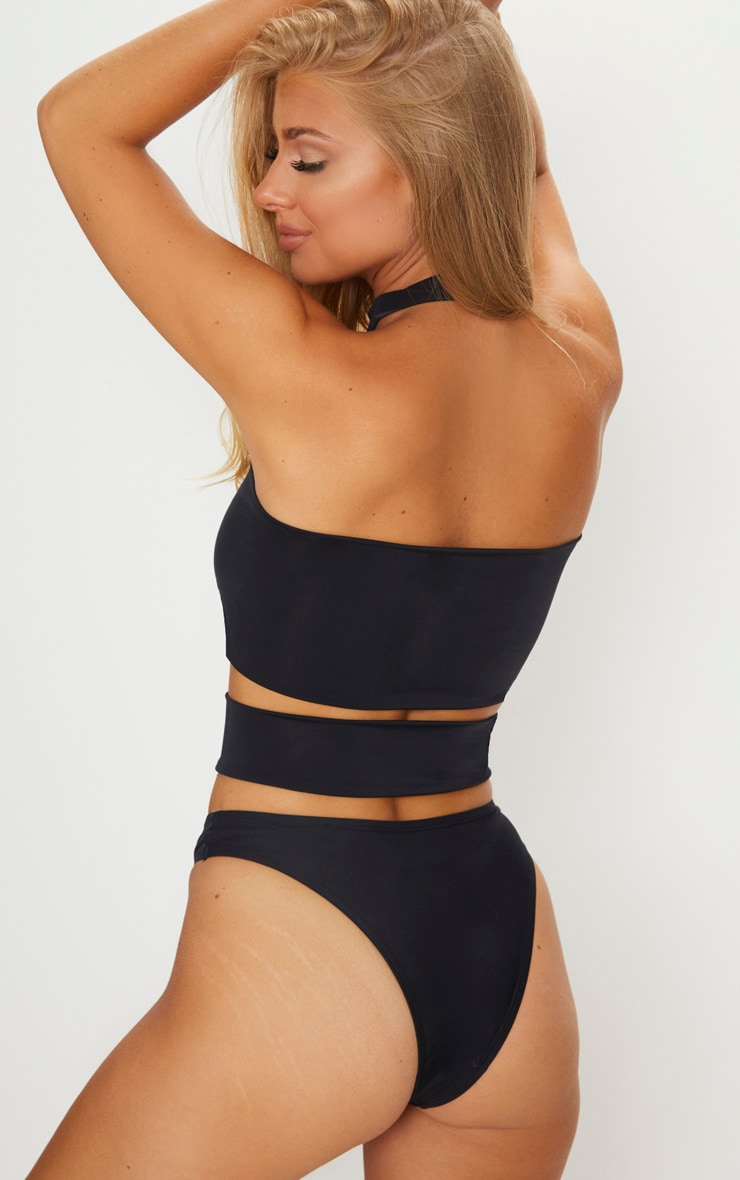 Black Panelled Choker Neck Swimsuit 2
