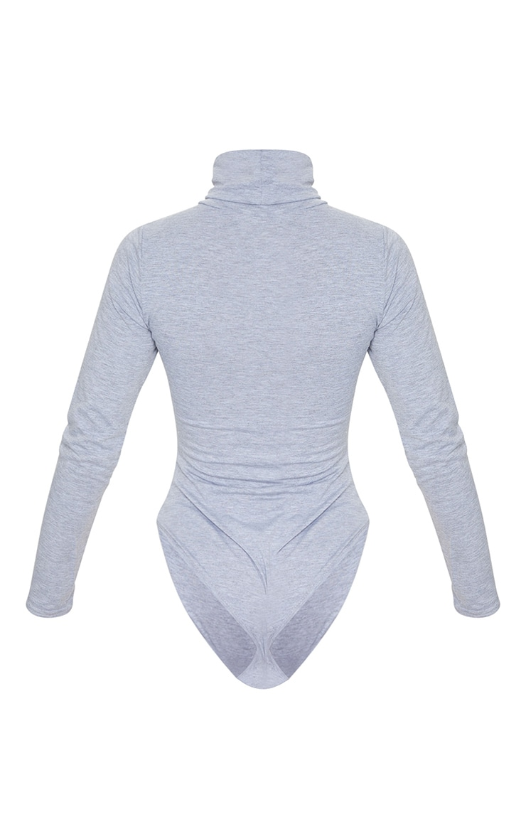 Basic Grey Roll Neck Long Sleeve Bodysuit 6