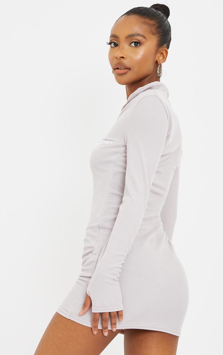 PRETTYLITTLETHING Petite Grey Soft Rib Long Sleeve Zip Bodycon Dress 2