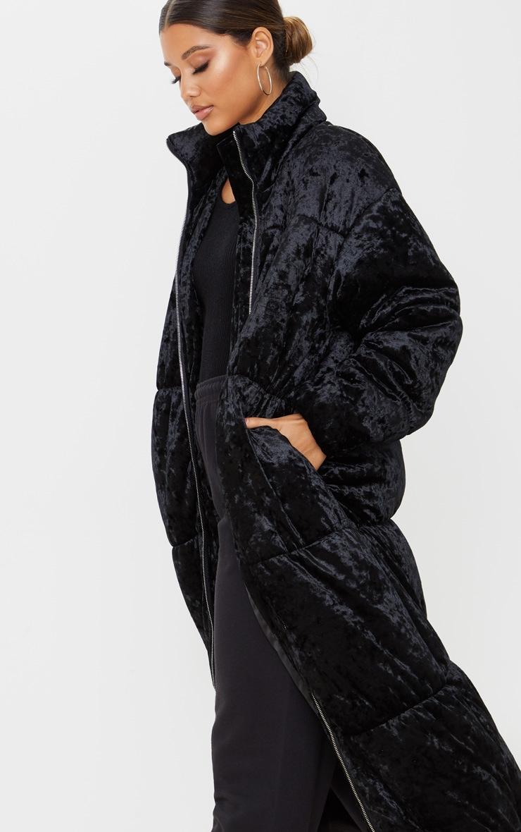 Doudoune longue en velours noir 5