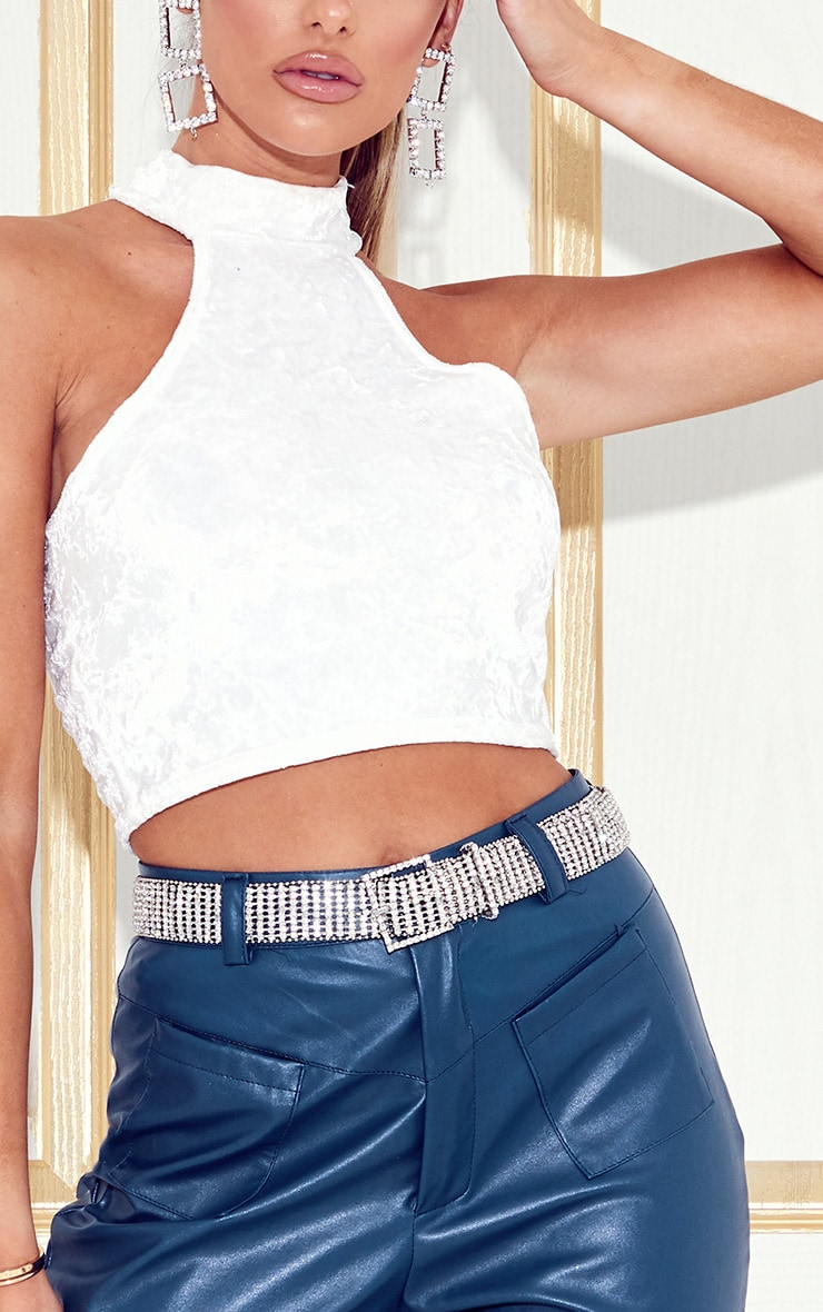 White Velvet High Neck Crop Top 5