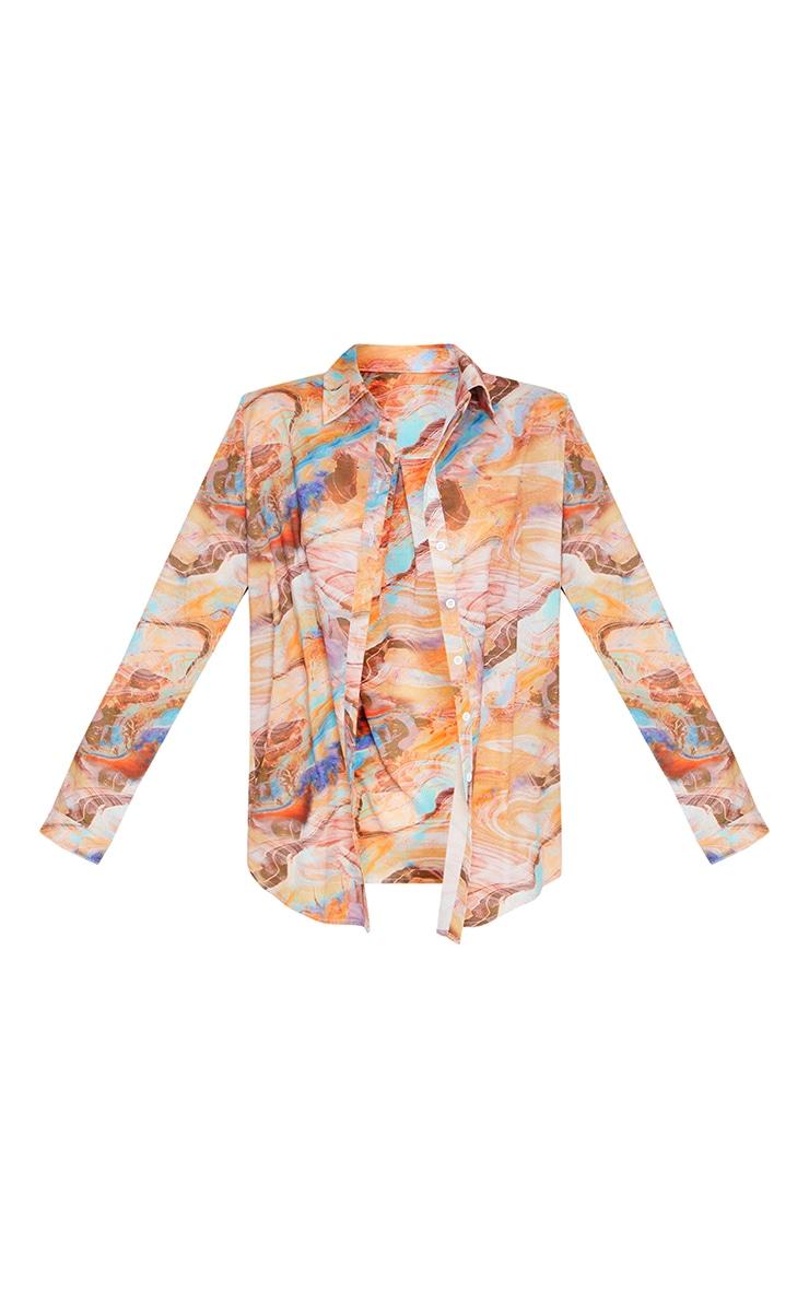 Brown Tie Dye Oversized Shirt 5