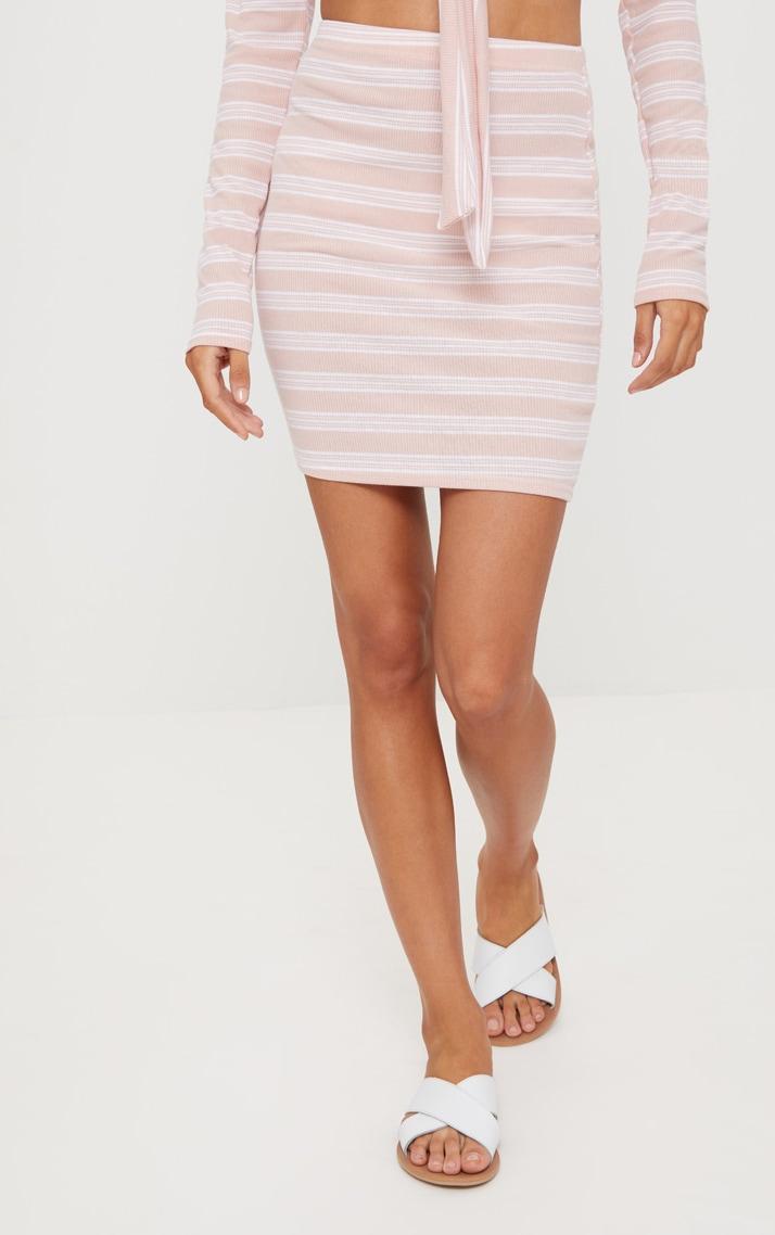 Pale Pink Ribbed Stripe Mini Skirt 2