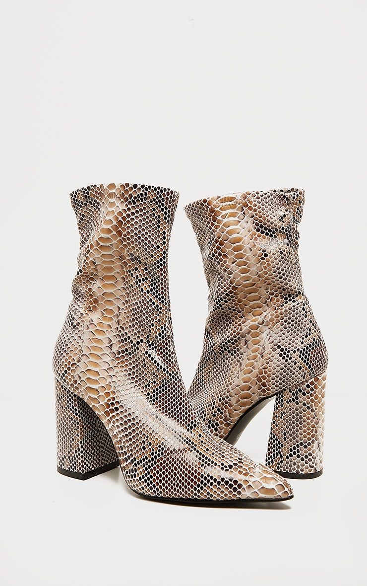 Snake Block Heeled Point Toe Sock Boot 3