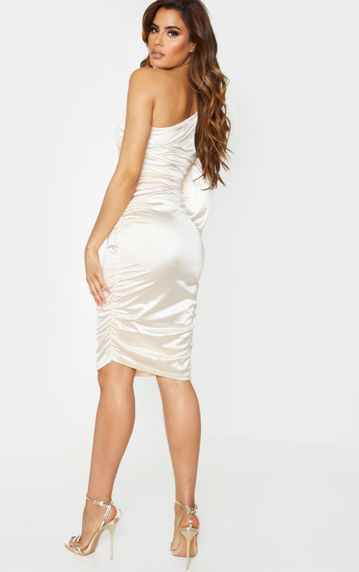 Tall Champagne One Shoulder Satin Ruched Side Midi Dress 2