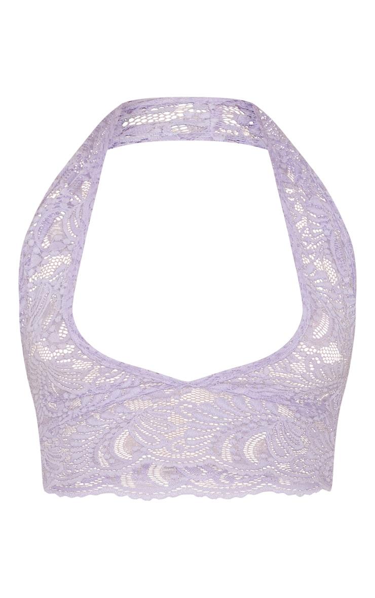Lilac Lace Halterneck Crop Top 3