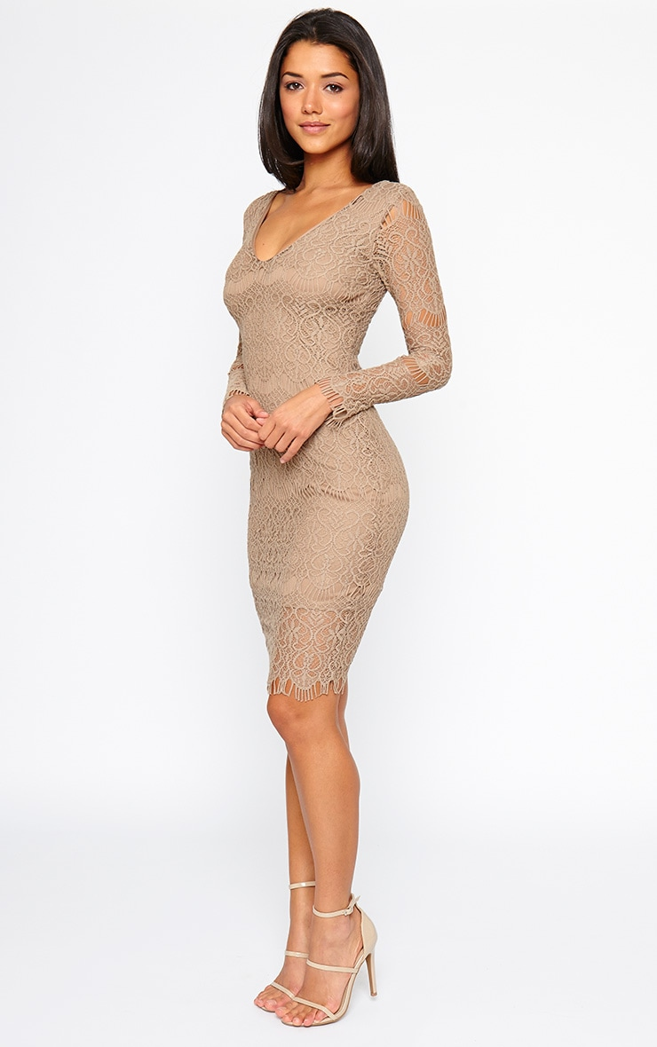 Lenix Mocha Lace Midi Dress 3