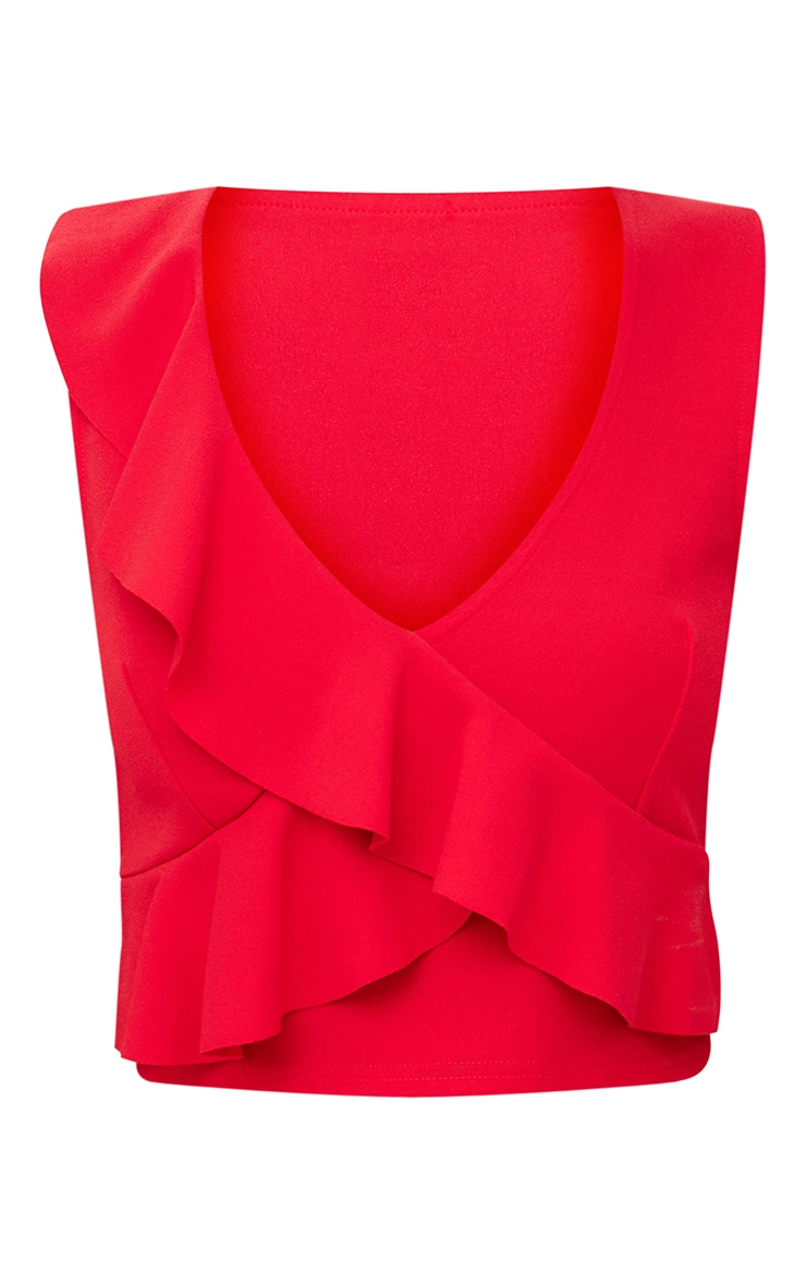 Red Wrap Frill Crop Top  3