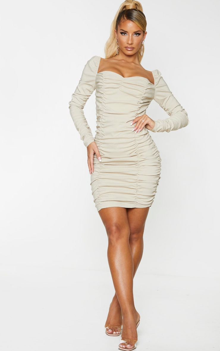 Nude Woven Stretch Extreme Ruched Bodycon Dress 1