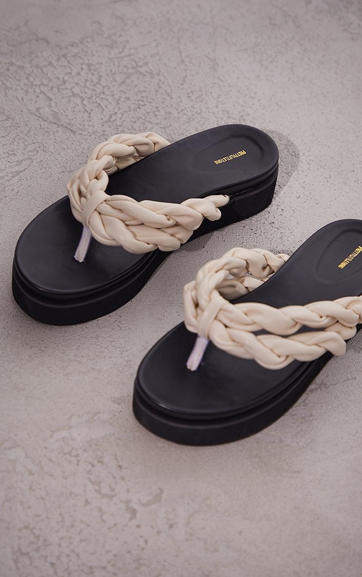 Cream PU Double Plaited Toe Thong Sandals 3