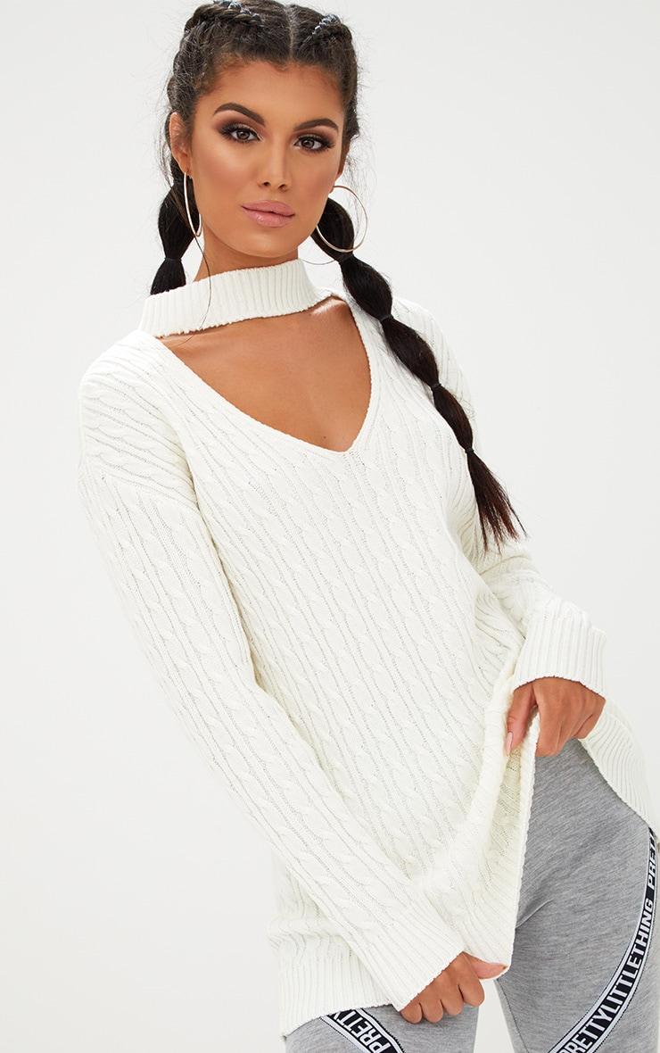 Cream Choker Knitted Jumper 1