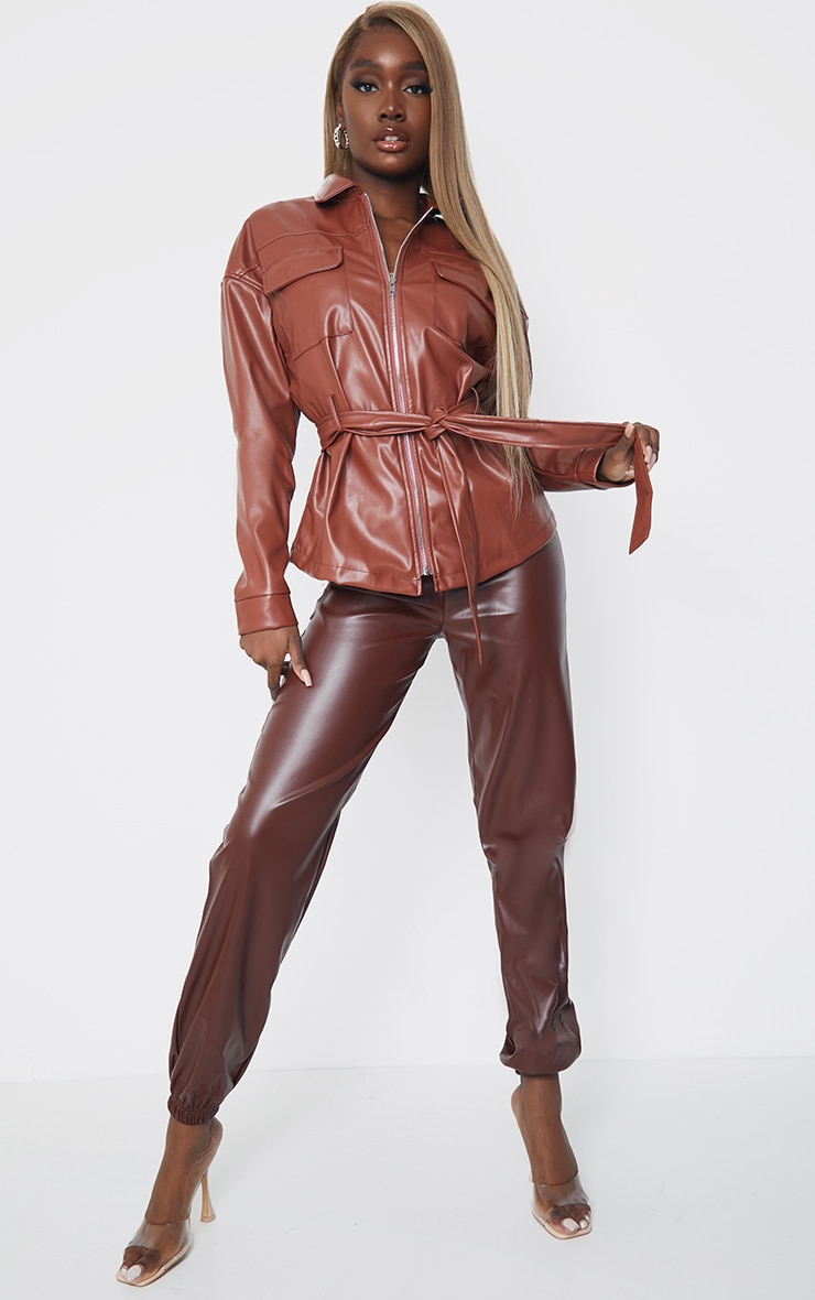 Tall Chocolate Faux Leather Belt Detail Jacket 1
