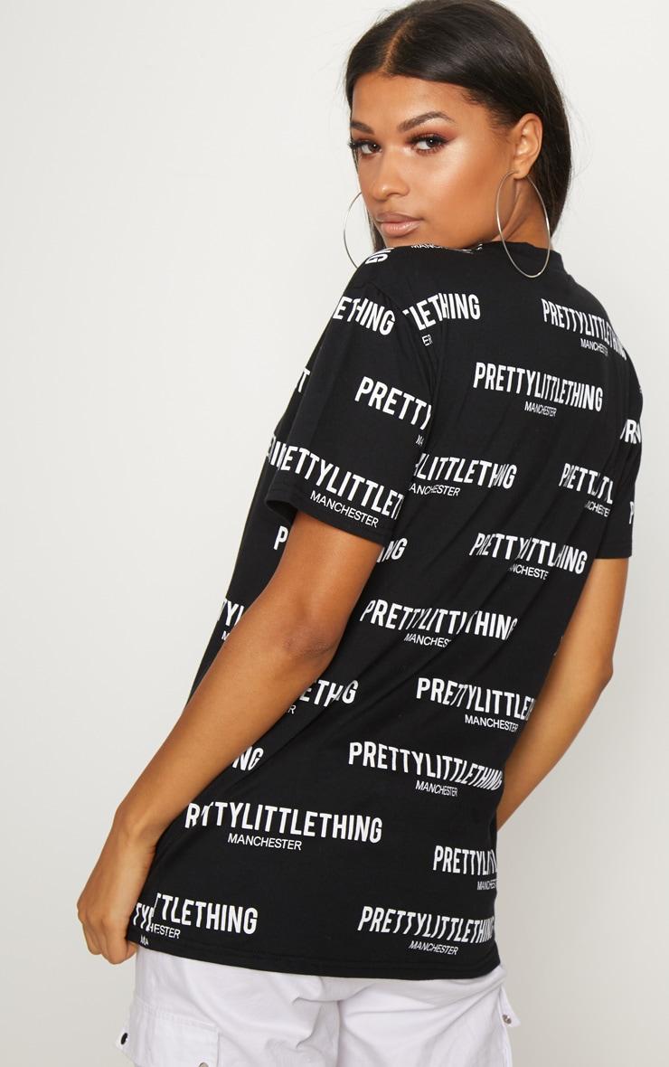 PRETTYLITTLETHING Black Manchester Slogan T Shirt  2