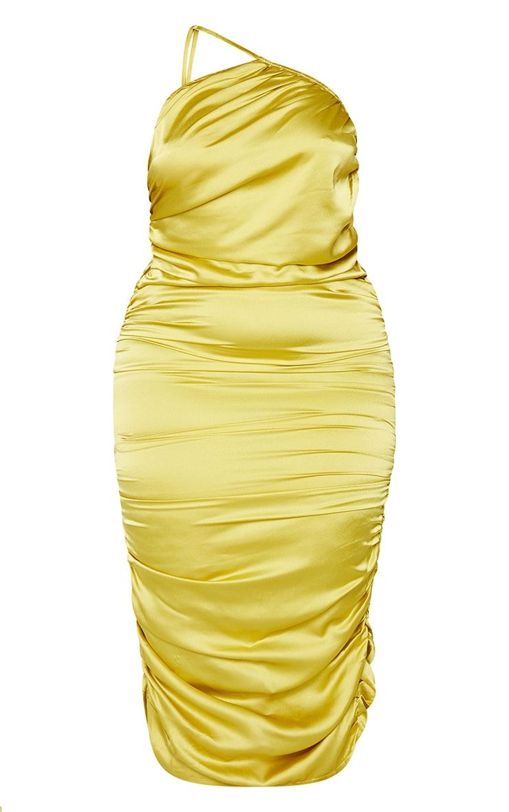 Plus Chartreuse Satin One Shoulder Midi Dress 5