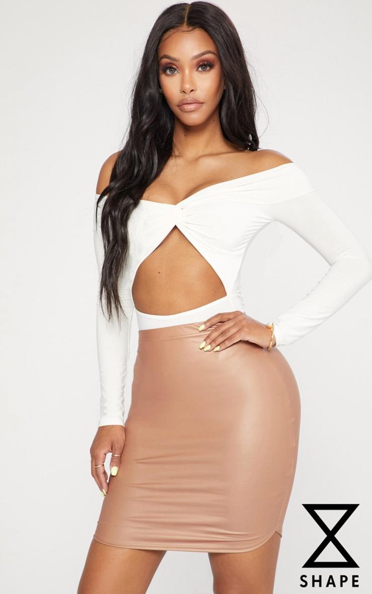 Shape Nude PU Curve Hem Bodycon Skirt