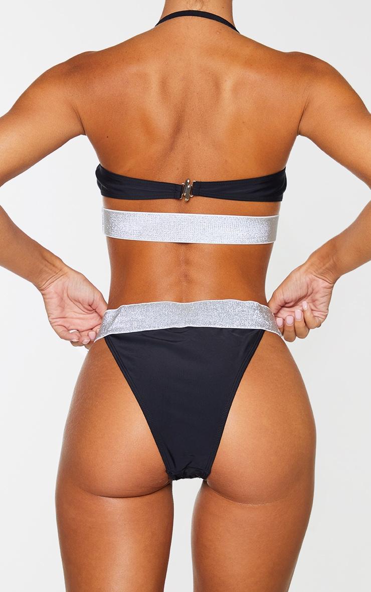 Black Glitter Waist Tanga Bikini Bottoms 3