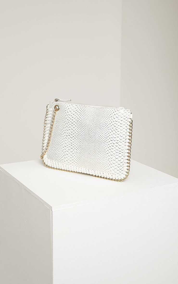 Milly White Snake Print Chain Clutch 3