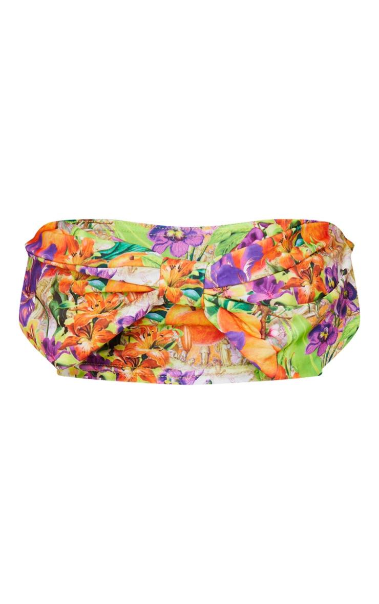 Purple Floral Fruit Bow Front Bikini Top 5