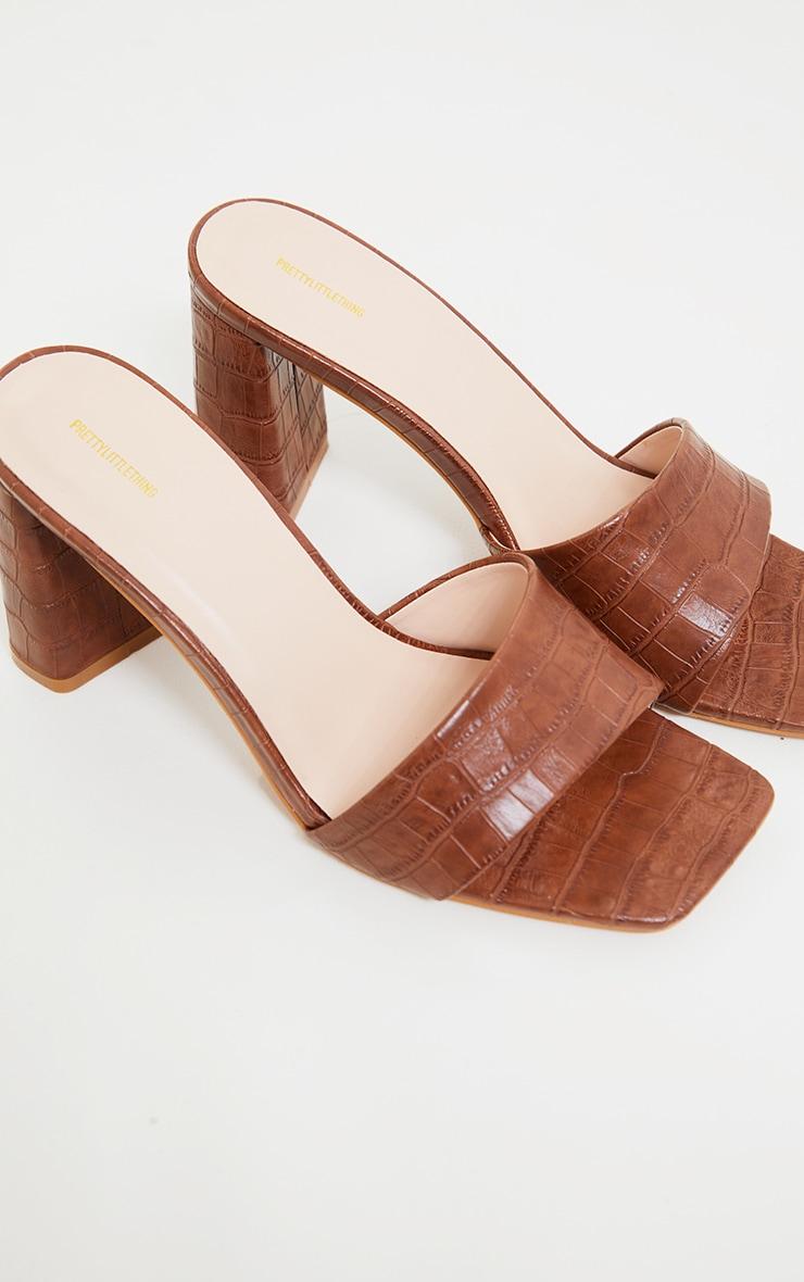 Tan Square Toe High Block Heel Mules 3