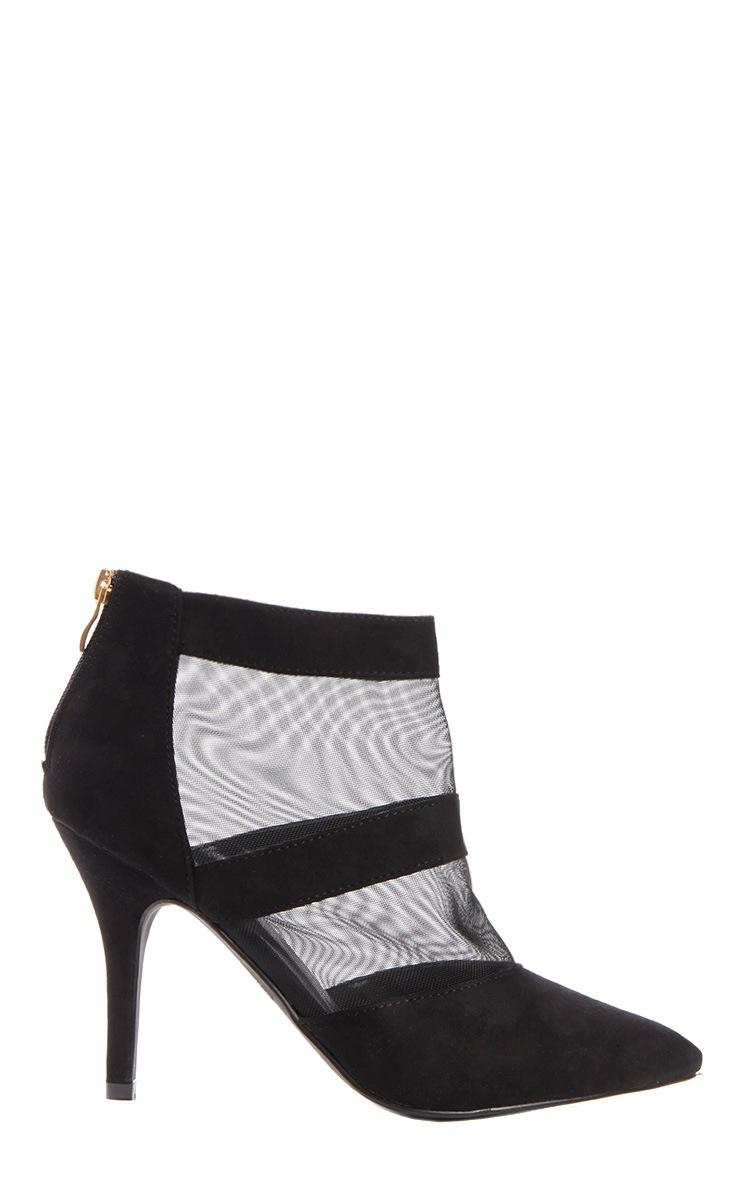 Nigella Black Suede & Mesh Heels 2